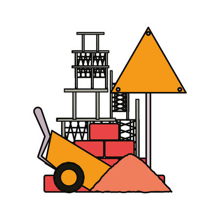 flat line colored signal construction and wheelbarrow over white  background  vector illustration Illustration