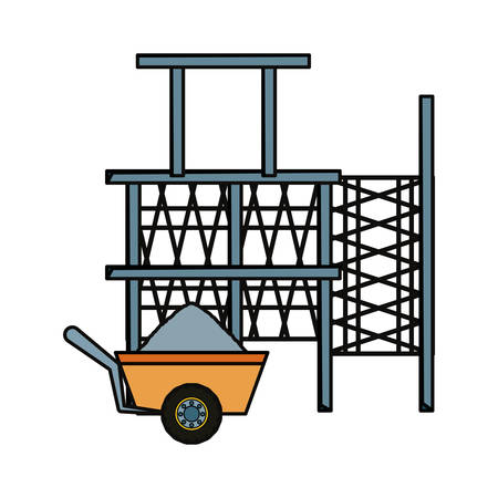 flat line colored  scaffold  adn  wheelbarrow over  white  background  vector illustration
