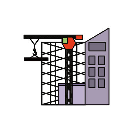 flat line colored  scaffold  and   tower  crane over  white  background  vector illustration Illustration