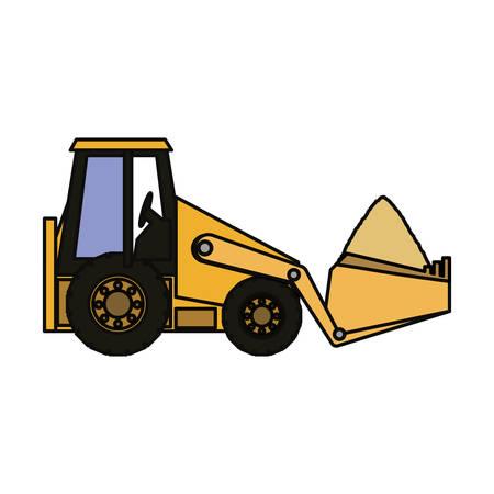 skid: flat  line  colored skid steer loader  over white  background vector illustration Illustration