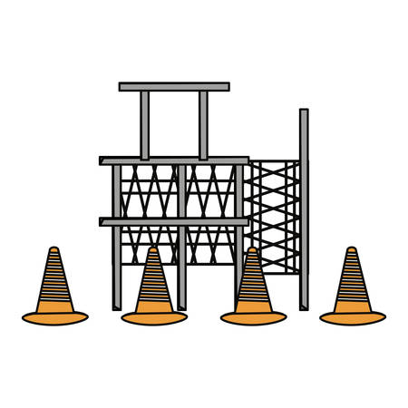 flat line colored  scaffold  and   trafic cone over  white  background  vector illustration