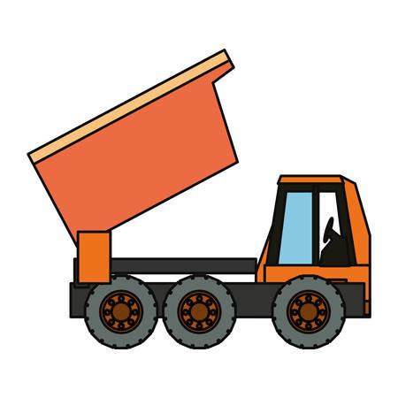 shaft: Flat line colored truck rocker illustration.