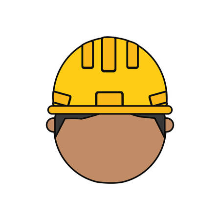 construction project: Flat line colored man head construction worker  illustration. Illustration