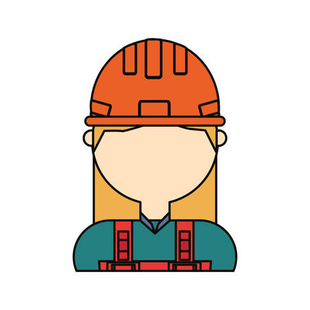 Flat line colored woman avatar construction worker over white.