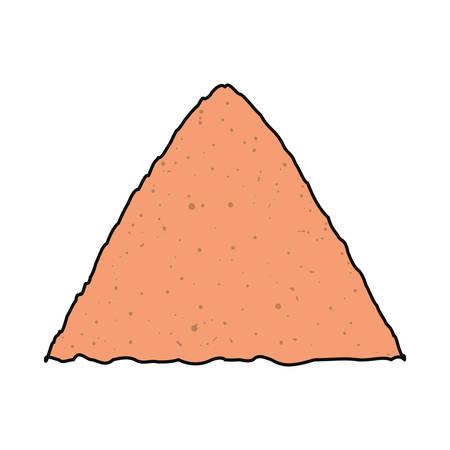 mine site: Flat line  colored  construction sand. Illustration