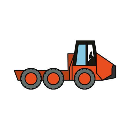 Flat line colored truck rocker. Illustration