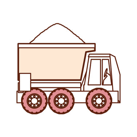 A dump truck icon over white background vector illustration