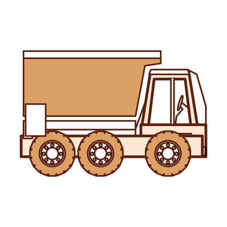 Heavy dump truck icon over white background vector illustration Illustration