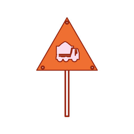 Construction warning sign with dump truck  icon.