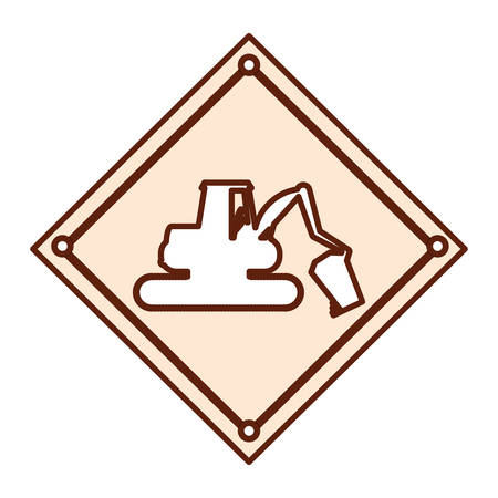 private security: construction warning sign  with backhoe icon over white background vector illustration
