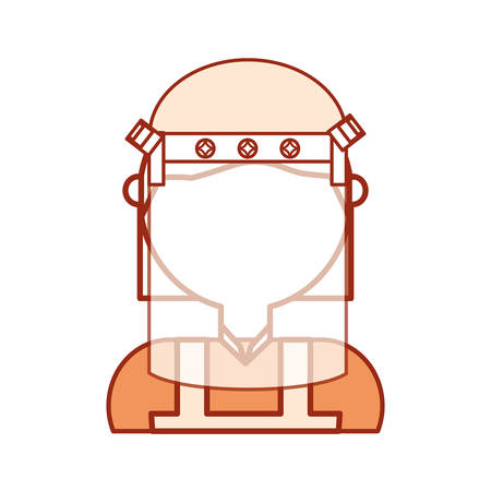 private security: Man with safety helmet icon over white background colorful design vector illustration