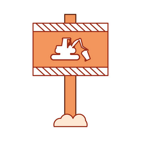 construction warning sign  with backhoe icon over white background vector illustration