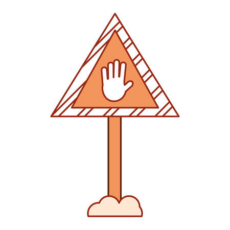 construction warning sign with hand  icon over white background vector illustration Illustration