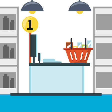 cash: supermarket cash register and shopping basket with products icon colorful design vector illustration