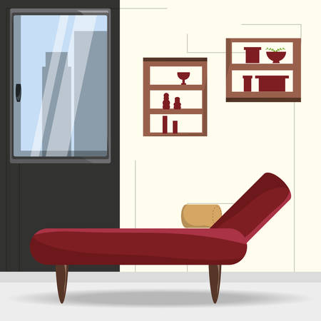 chaise longue and decorative objects in the wall icon colorful design vector illustration