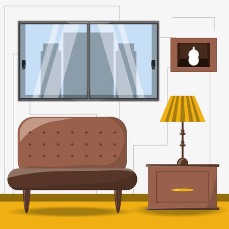 contemporary living room: classic couch and lamp icon colorful design vector illustration