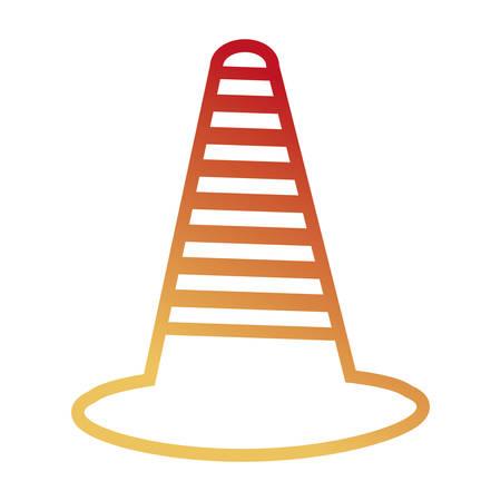 flat line colored trafic cone over white background vector illustration Vetores