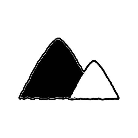 mine site: flat line monocromatic  construction sand  over white background vector illustration