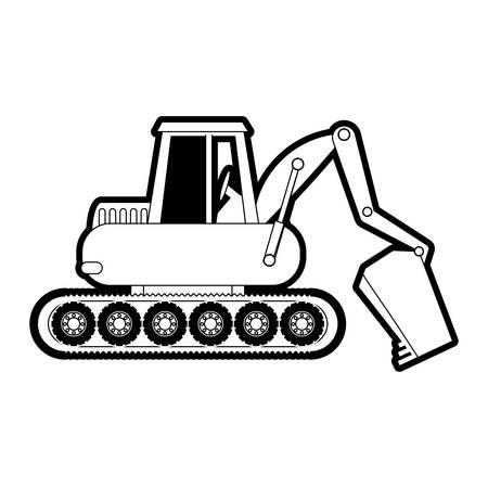 mine site: flat line monocromatic excavator over white background vector illustration Illustration