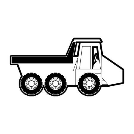 heavy industry: flat line monocromatic  dump truck over white background vector illustration Illustration