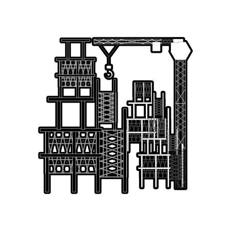 flat line monocromatic scaffold and tower crane  over white  background  vector illustration Illustration
