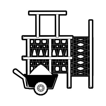flat line monocromatic scaffold and wheelbarrow over white  background  vector illustration