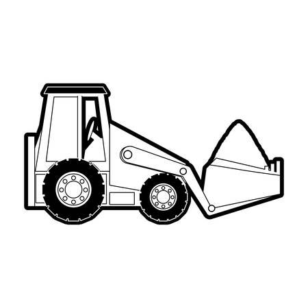 skid: flat line monocromatic skid steer loader over white background  vector illustration