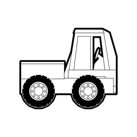 shaft: flat  line  monocromatic truck rocker over white  background  vector illusration Illustration