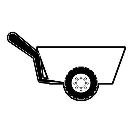 flat line monocromatic wheelbarrow over white background vector illustration Illustration