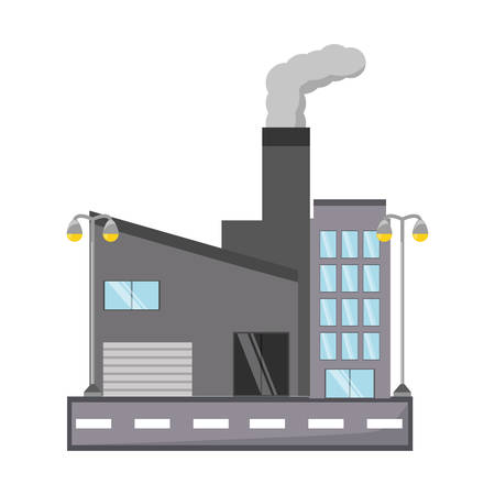 city building: road with industrial building icon over white background colorful design vector illustration