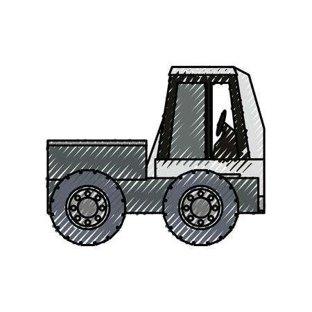 shaft: flat line colored truck rocker doodle  over  white background vector illsutration