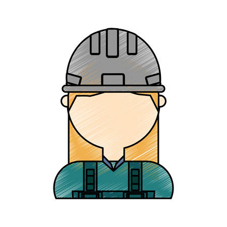 flat line colored woman construction worker doodle over white background vector illustration