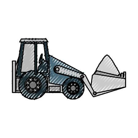 skid steer loader: flat line skid steer loader doodle over white background vector illustration