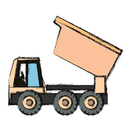 shaft: flat line colorful truck rocker over  white background vector illsutration