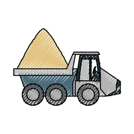 flat line  colored dump truck over white background vector illustration