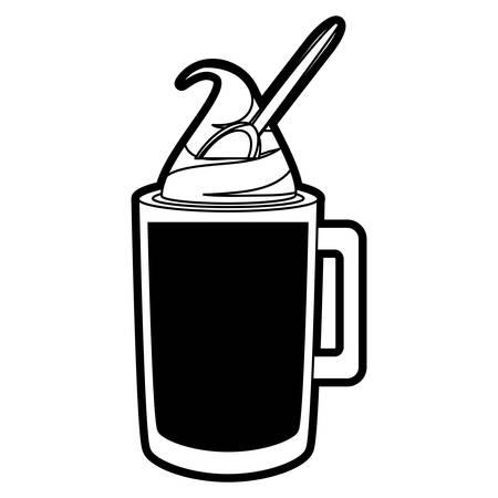 monochromatische ijskoffie en lepel over witte achtergrond vectorillustratie