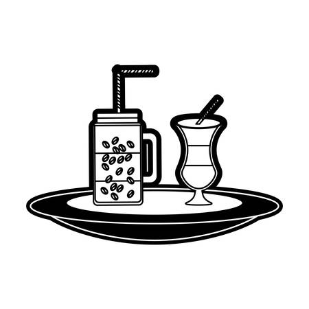 monocromatic  iced coffee  and  coffee malt over white background  vector illustration Illustration