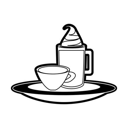 served: monocromatic  iced coffee and coffee cup  over white background  vector illustration