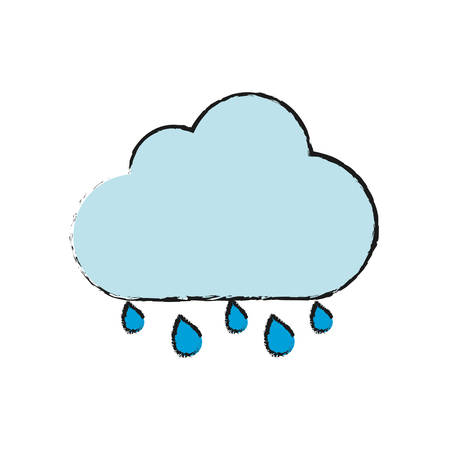 cloud with water drops icon over white background vector illustration
