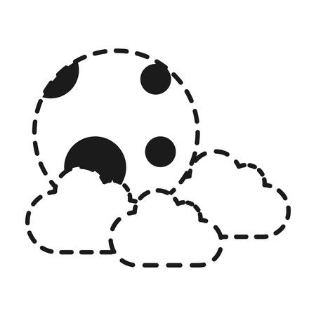 Cloud and moon icon over white background vector illustration.