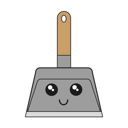 kawaii dustpan icon over white background vector illustration