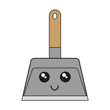 kawaii dustpan icon over white background vector illustration