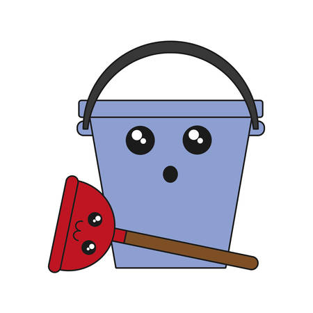 kawaii bucket and cleaning equipment icon over white background colorful design vector illustration