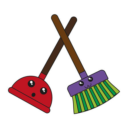 kawaii plunger and broom icon over white background vector illustration