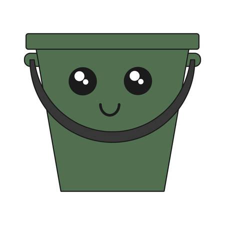 kawaii bucket icon over white background vector illustration