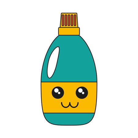 kawaii cleaning bottle icon over white background vector illustration Stock Vector - 86373667