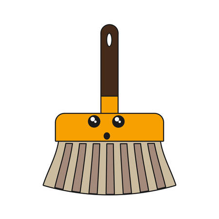 kawaii broom icon over white background vector illustration Illustration