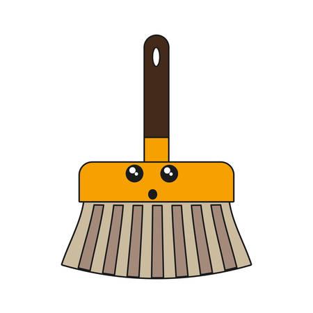 kawaii broom icon over white background vector illustration Illustration