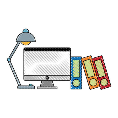 computer and desk lamp icon over white background vector illustration