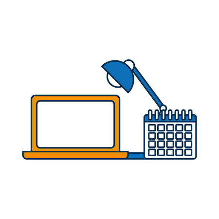 Laptop computer and calendar icon over white background vector illustration
